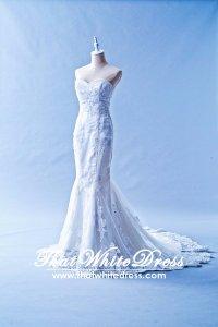 401W002 Trumpet Lace Heart shape Tube Single Tier Wedding Dress Designer Malaysia