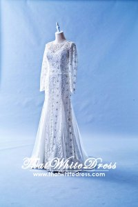 408W08 LL Long Sleeves 3d Lace floor Wedding Dress Designer Malaysia