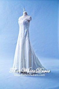 408W17 MM Illusion Chengsam high collar A line Wedding Dress Designer Malaysia