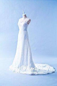 502W02 TY Illlusion Neck Chantilly Lace Wedding Dress Designer Malaysia