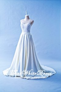 504W04 CS Illusion Neck Duchesse Wedding Dress Designer Malaysia