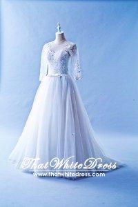 508QQ05 QQ Long Seleves Princess Wedding Dress Designer Malaysia