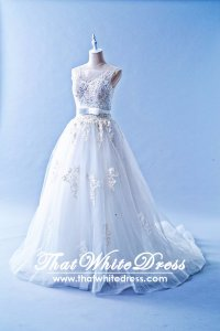 601W05 AD Illusion Neck Princess Wedding Dress Designer Malaysia