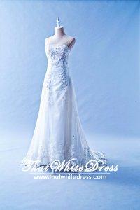 601W06 QD Straight Tube A line Long Lace Train Wedding Dress Designer Malaysia