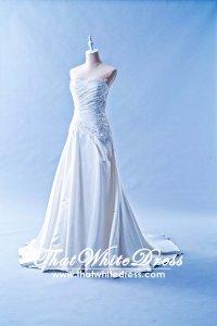 603CS01 CS Sweet Heart Pleated Satin A line Shalini Wedding Dress Designer Malaysia