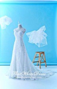 611LLW01 XN Christine Off Shoulder A line Zip Illusion back Wedding Dress Malaysia Rental Custom
