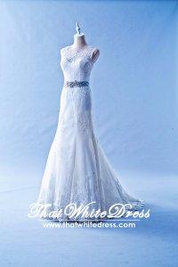 502W04 XJ Sleeveless Illusion Neck Lavender Belt Wedding Dress Designer Malaysia