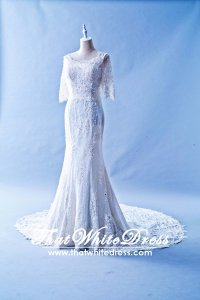 506WL01 LL WL Long Sleeves French Lace back zip Wedding Dress Designer Malaysia