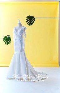 75LLW01 LL FM Long Sleeves V neck Alencon Lace Duchesse Satin Trumpet Wedding Dresss Malaysia Baju Pengantin KL