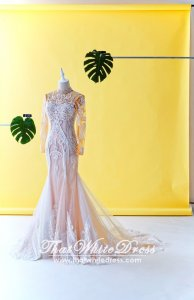 75LLW02 LL Fatine Long Sleeves High Collar Trumpet Champagne Wedding Dresss Malaysia Baju Pengantin KL