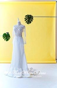 610CCW01 Long Sleeves Illusion Satin button back Wedding Dresss Malaysia Baju Pengantin KL