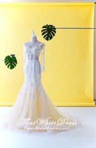 75LLW03 LL Long Sleeves Illusion Bodice Light Beige Trumpet Button Back Back Wedding Dresss Malaysia Baju Pengantin KL
